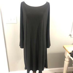 Annalee +Hope Long Sleeve Boat Neck Black Dress XL